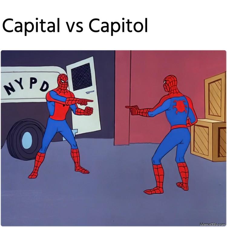 Capital vs Capitol Spiderman pointing meme
