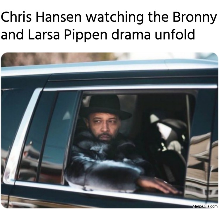 Chris Hansen watching the Bronny and Larsa Pippen drama unfold meme