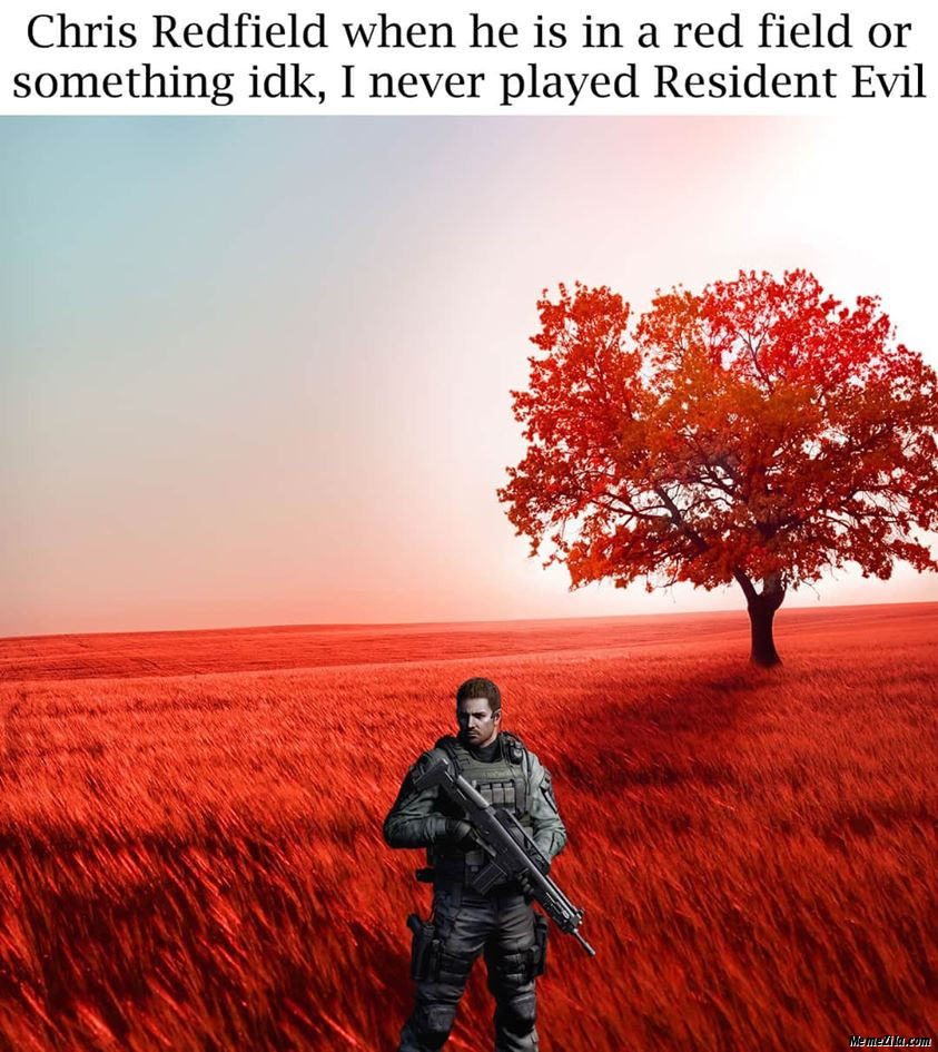Chris redfield is in a red field or something idk never played Resident Evil meme