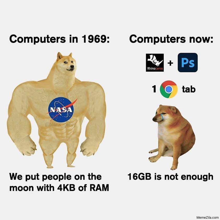 Computer in 1969 vs Computers now meme