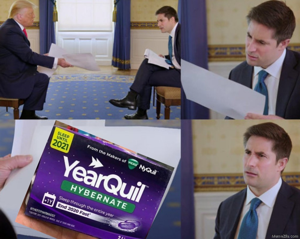 Confused Reporter vs YearQuil meme