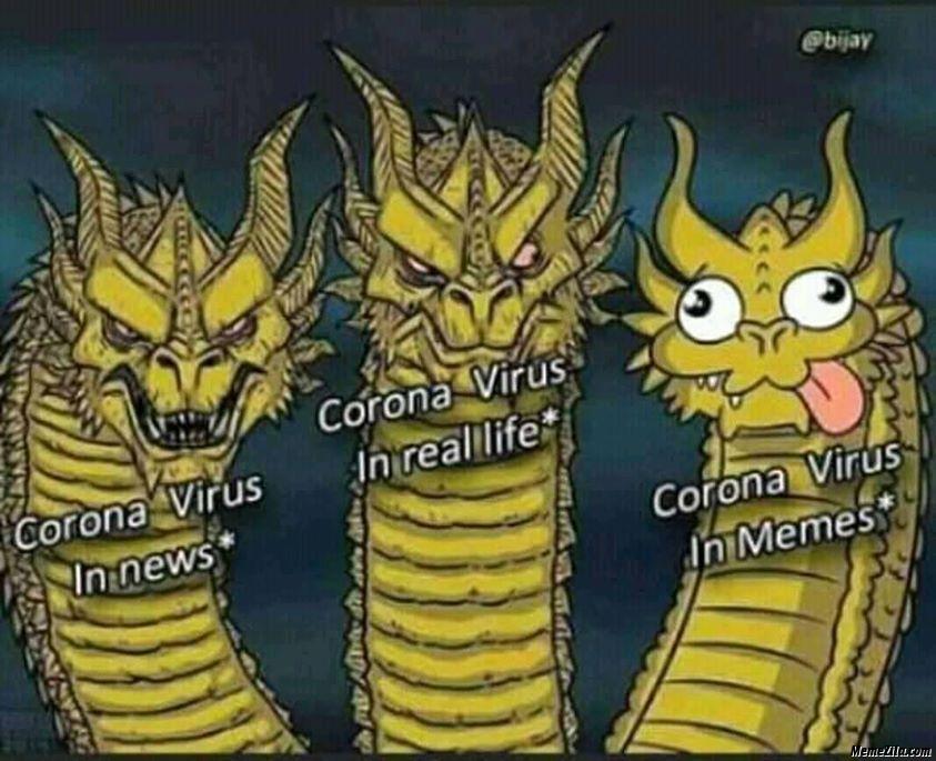 Coronavirus in news vs coronavirus in real life vs coronavirus in memes
