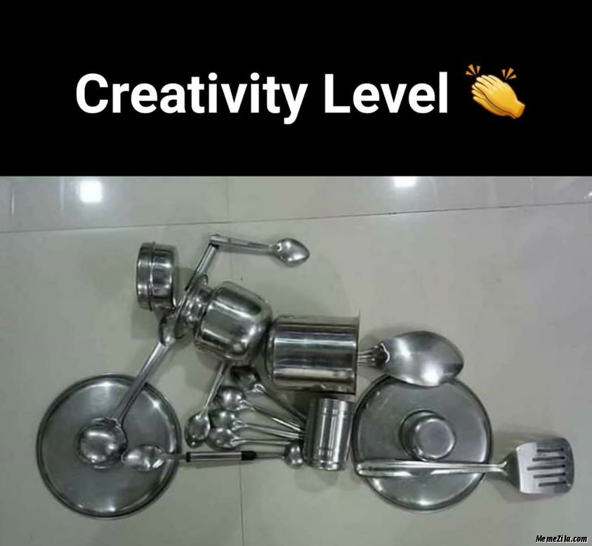 Creativity level Harley davidson bike using utensils meme