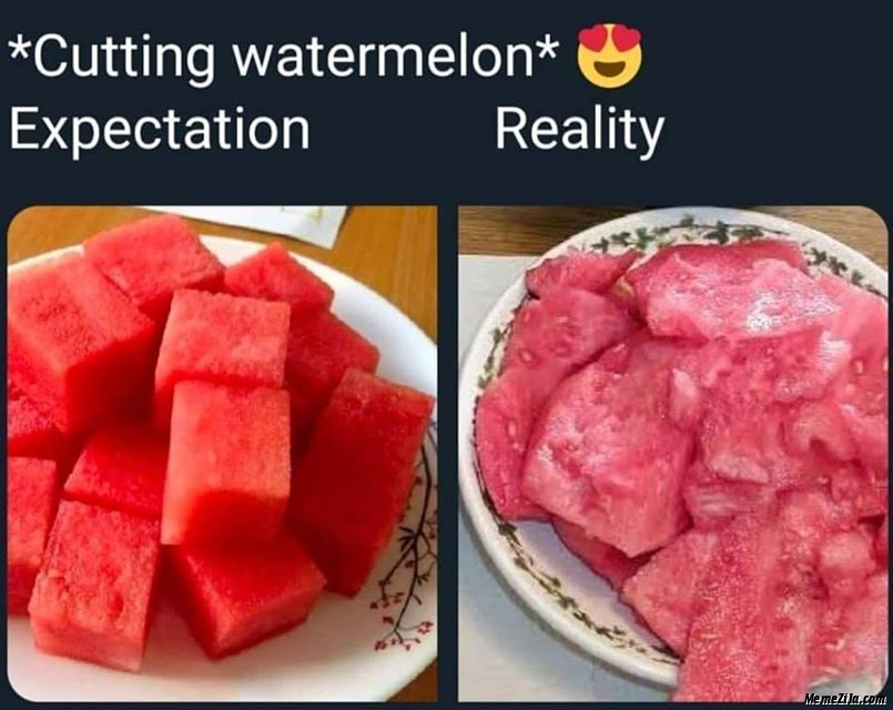 Cutting watermelon expectation vs reality meme