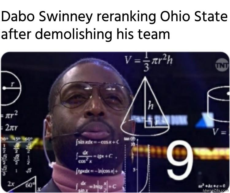 Dabo Swinney reranking Ohio State after demolishing his team meme