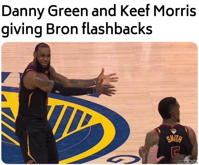 Danny Green and Keef Morris giving Bron flashbacks meme