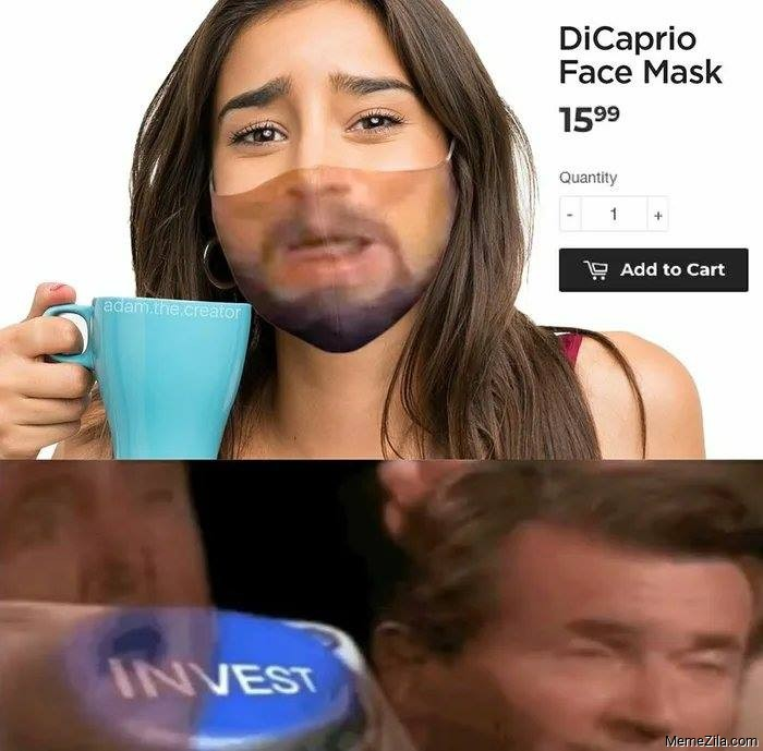 DiCaprio face mask invest meme