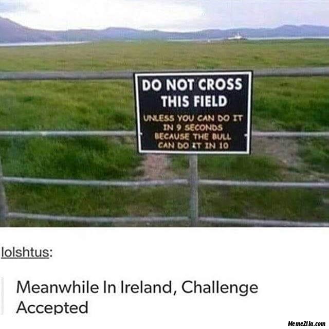 Do not cross this field meme