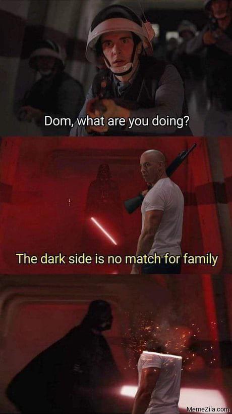 Dom, what are doing? The dark side is no match for family meme -  MemeZila.com