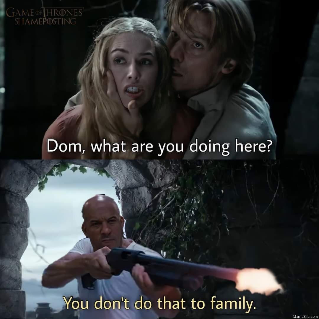 Dom, what are you doing here? You don't do that to family meme