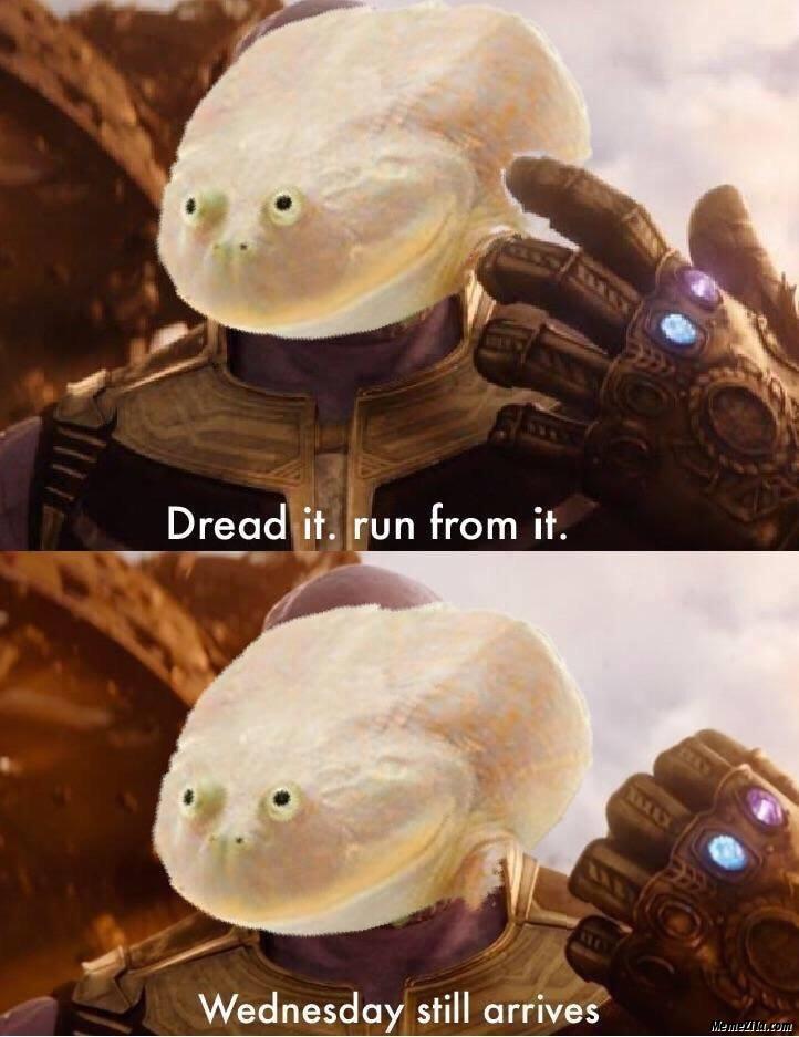 Dread it Run from it Wednesday still arrives meme