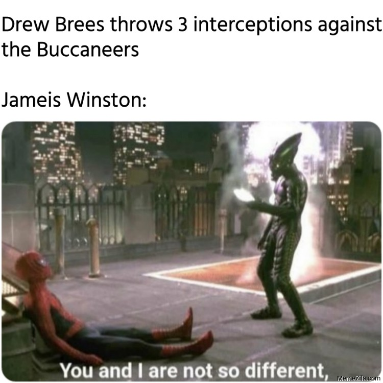 Drew Brees throws 3 interceptions against the Buccaneers Meanwhile Jameis Winston meme
