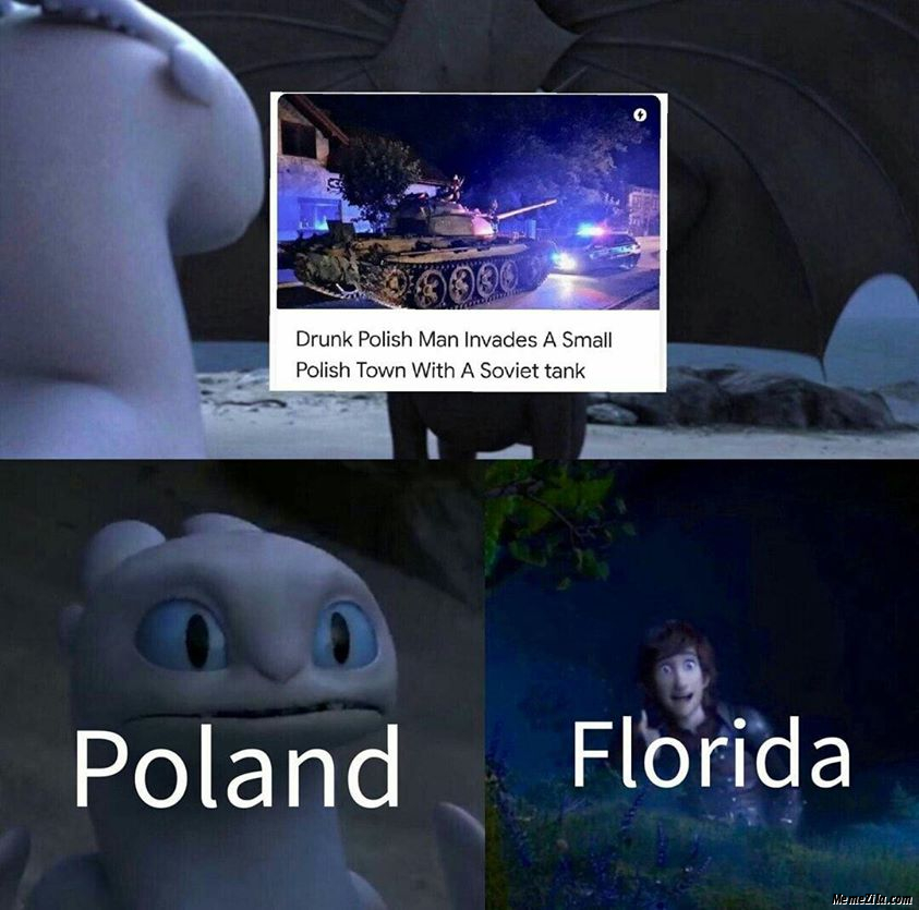 Drunk polish man invades a small polish town with a soviet tank Meanwhile Poland and Florida meme