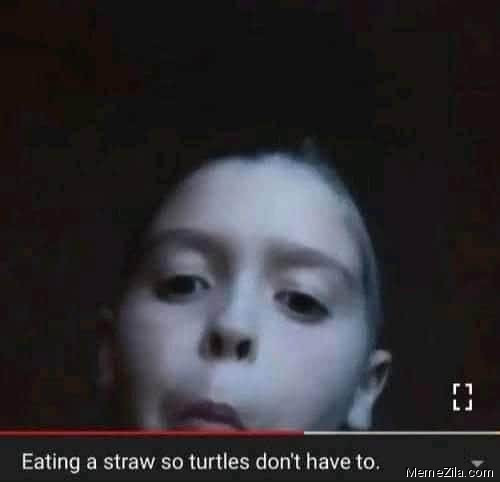 Eating a straw so turtles dont have to meme