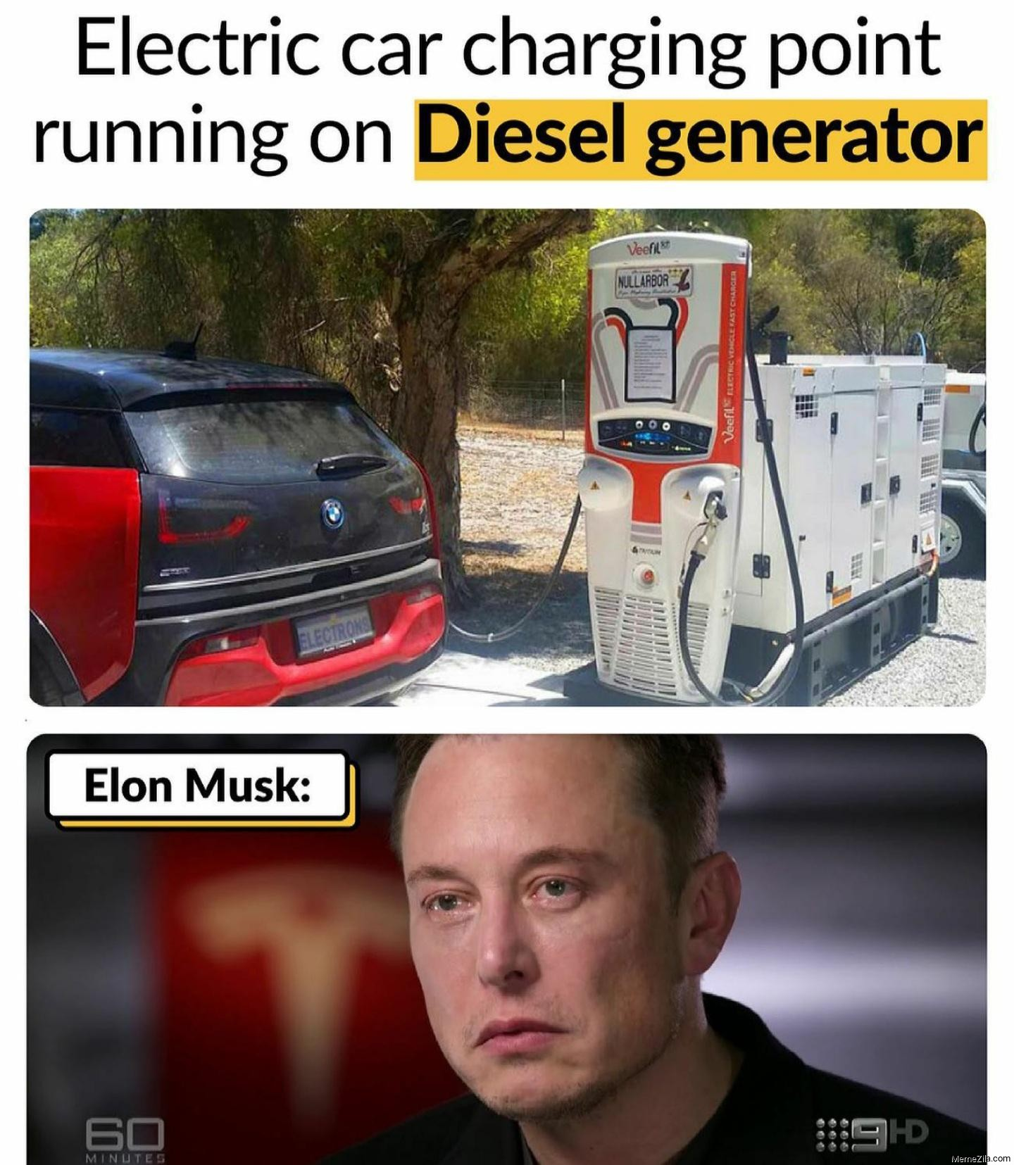 Electric car charging point running on diesel generator meanwhile Elon Musk meme
