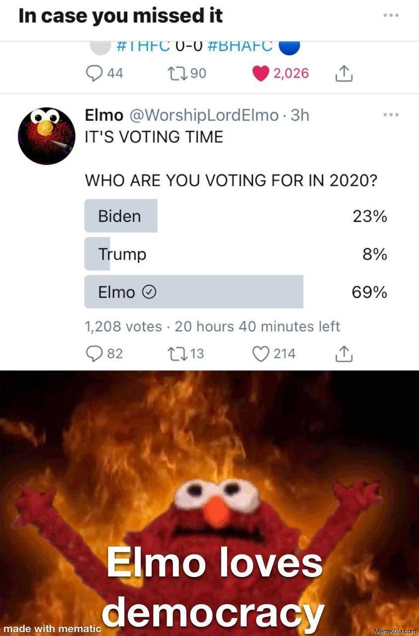 Elmo loves democracy meme