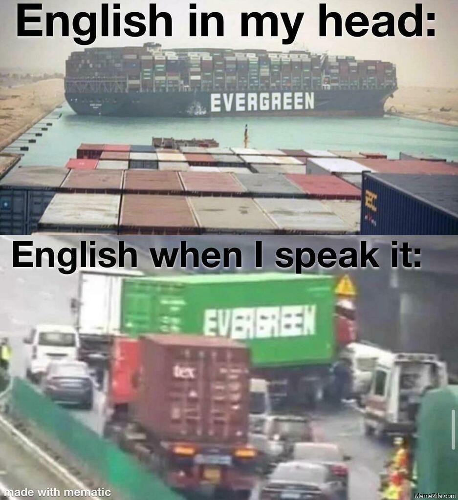 English in my head vs English when I speak meme