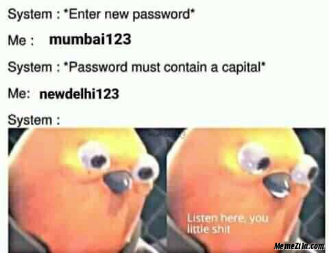 Enter new password Mumbai123 password must contain a capital Newdelhi123 meme