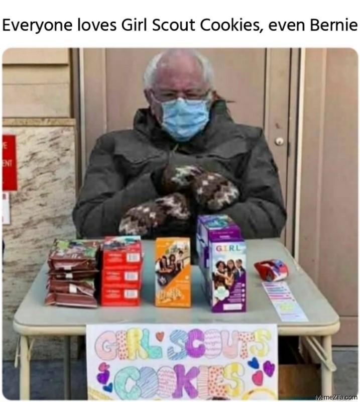 Everyone loves Girl Scout Cookies even Bernie meme
