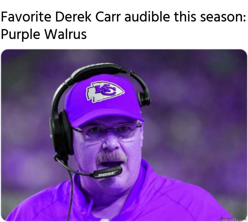 Favorite Derek Carr audible this season Purple Walrus meme