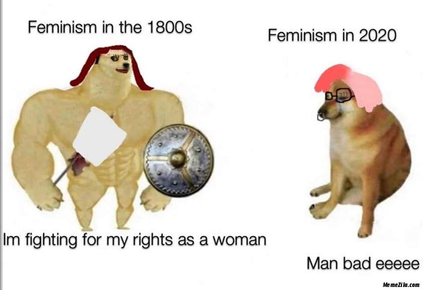 Feminism in the 1800s Feminism in 2020 Man bad eeeee meme