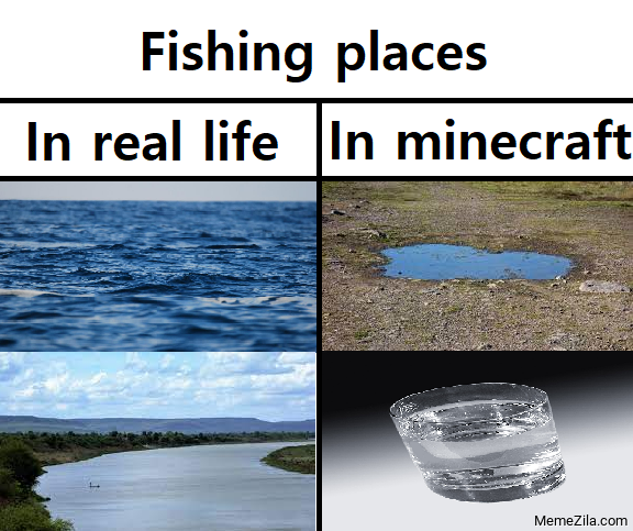 Fishing places in real life vs in Minecraft meme