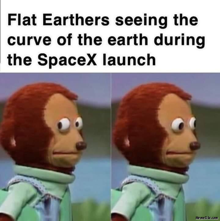Flat earthers seeing the curve of the earth during the SpaceX launch meme