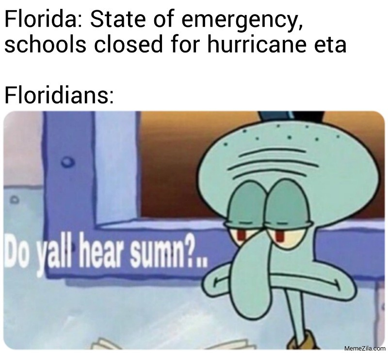 Florida State of emergency schools closed for hurricane eta Meanwhile Floridians meme