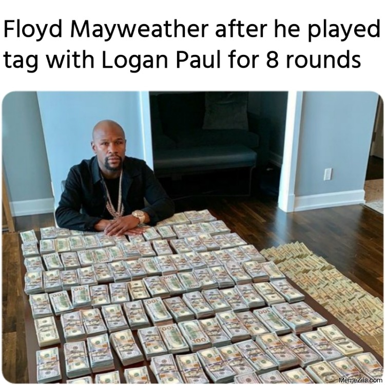 Floyd Mayweather after he played tag with Logan Paul for 8 rounds meme