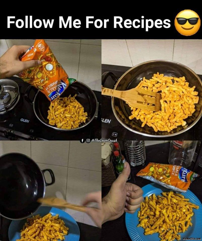 Follow me for more recipes Kurkure snacks meme
