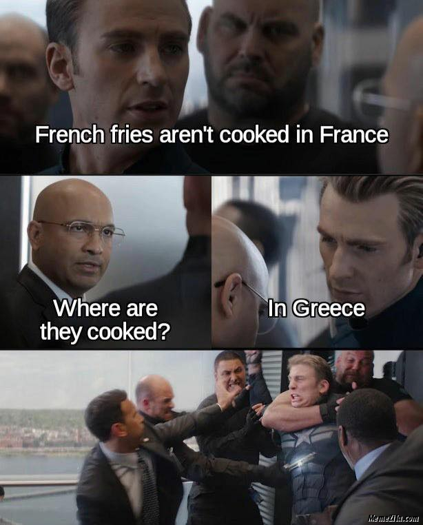 French fries arent cooked in France meme