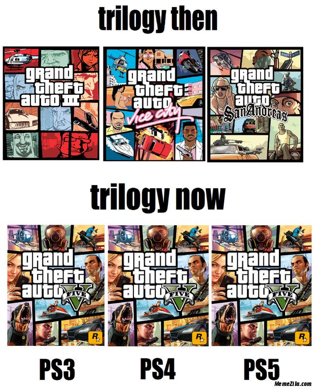 GTA Grand Theft Auto Trilogy then vs trilogy now meme
