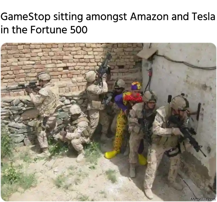 GameStop sitting amongst Amazon and Tesla in the Fortune 500 meme