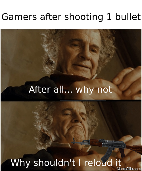 Gamers after shooting 1 bullet After all why noy Why shouldnt I reload it meme