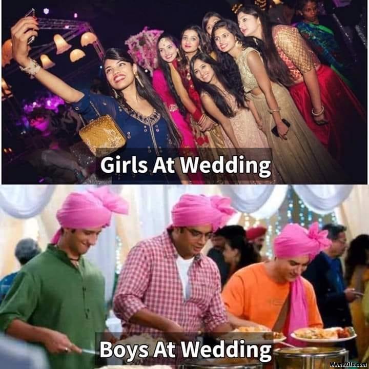 Girls at wedding vs boys at wedding meme