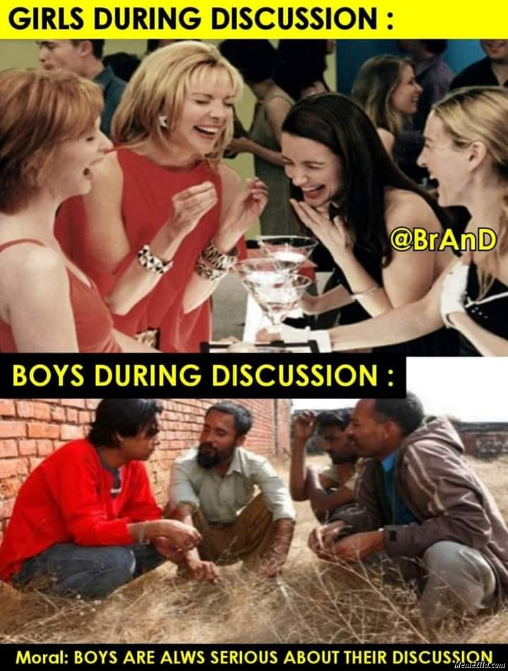 Girls during discussion vs boys during discussion meme
