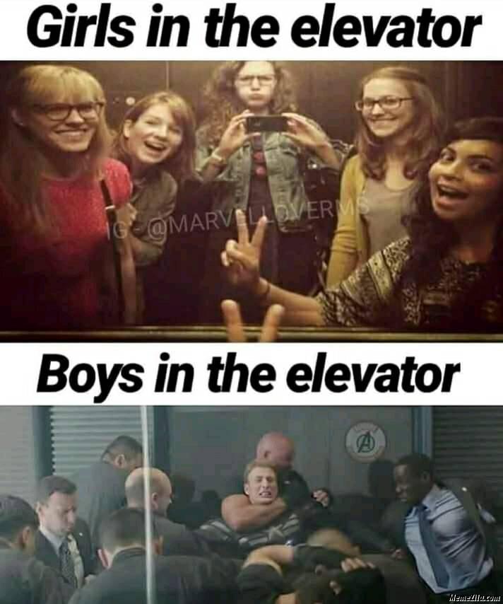 Girls in elevator vs boys in elevator meme