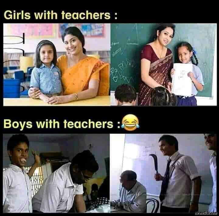 Girls with teachers vs Boys with teachers meme
