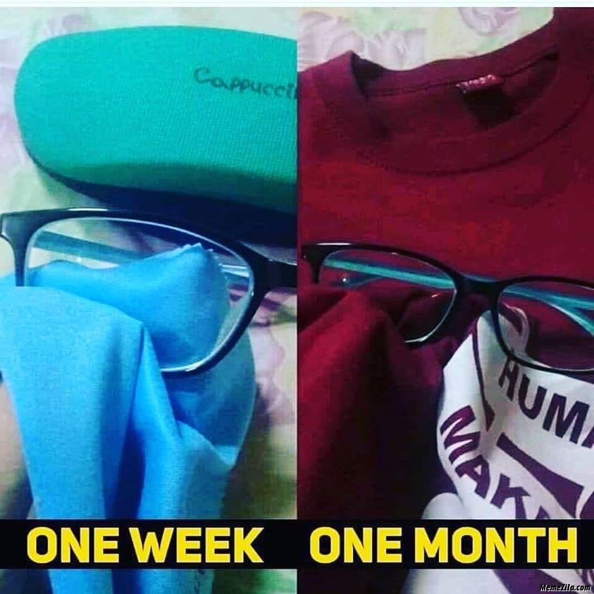 Goggle one week vs one month meme
