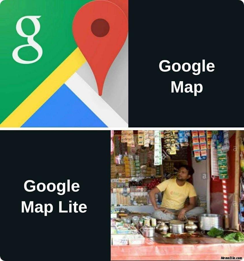 Google map vs Google map light meme