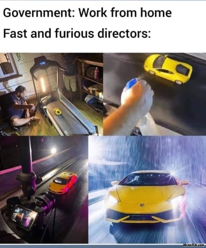 Government Work from home Meanwhile Fast and Furious directors meme