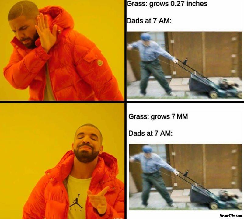 Grass grows 0.27 inches Grass grows 7mm meme