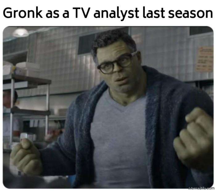 Gronk as a TV analyst last season meme