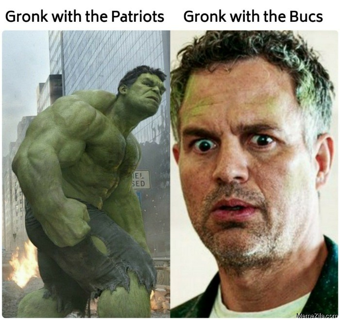 Gronk with the Patriots vs Gronk with the Bucs meme