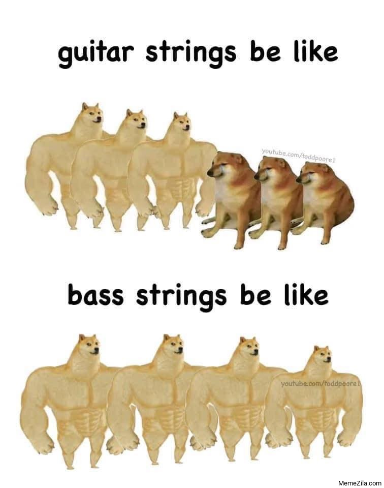 Guitar strings be like Bass strings be like meme