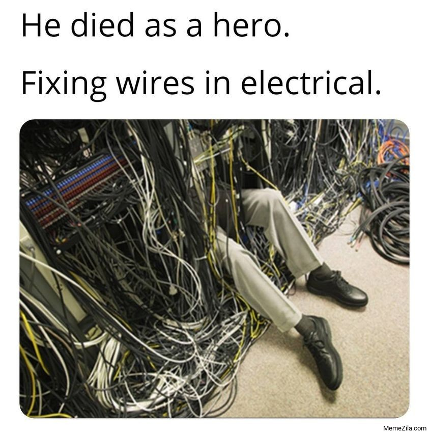 He died in as a hero fixing wires in electrical meme