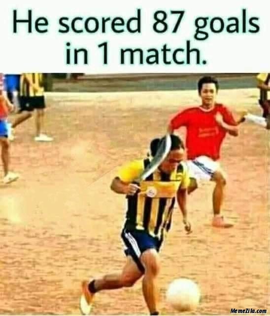 He scored 87 goals in 1 match meme
