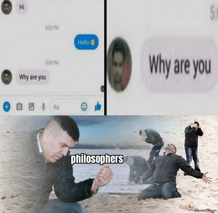 Hi Hello Why are you Meanwhile philosophers meme