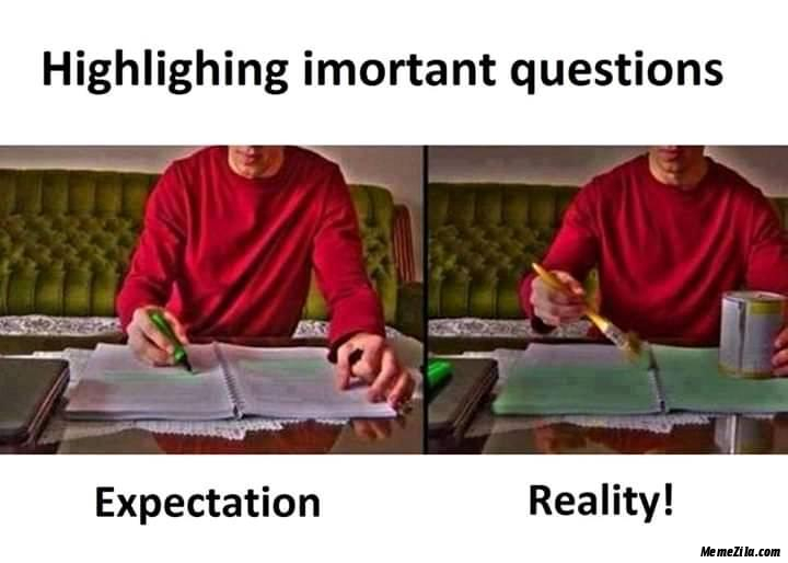 Highlighting important questions expectation vs reality