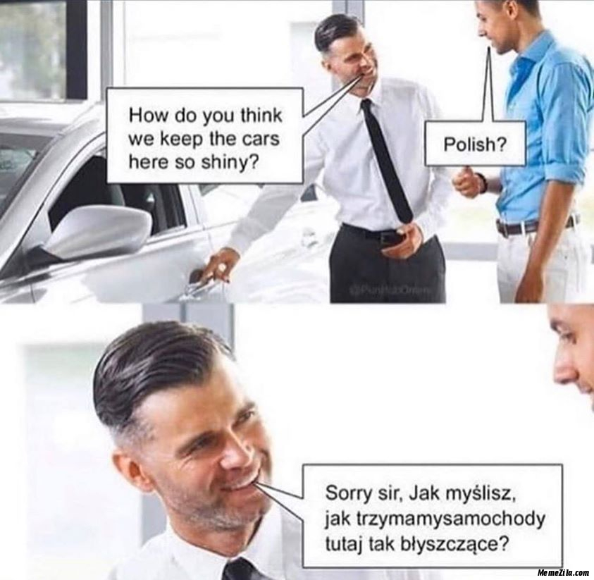 How do you think we keep the cars here so shiny Polish Sorry meme